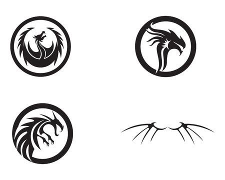 Set of head dragon flat  template vector illustration.