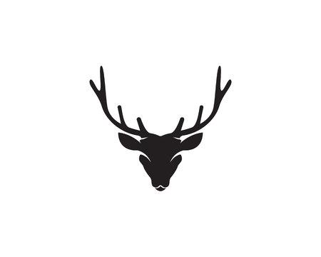 Head deer animals logo black silhouete icons