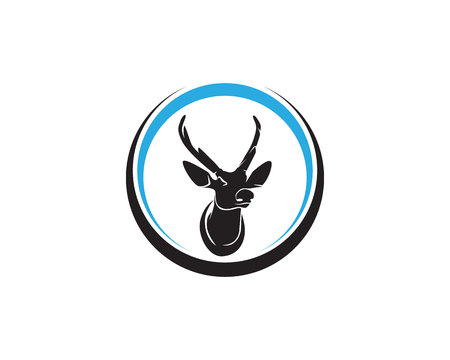 Head deer animals logo black silhouete icons