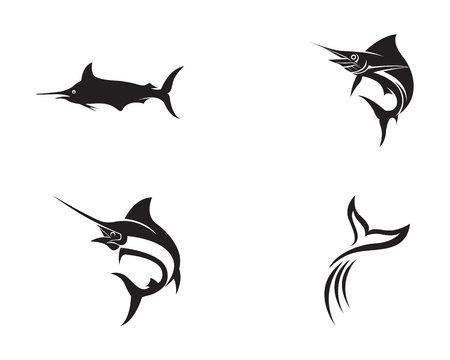 Marlin jump fish logo Illustration