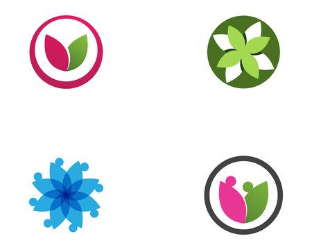 Leaf lotus flower logo and symbol vector