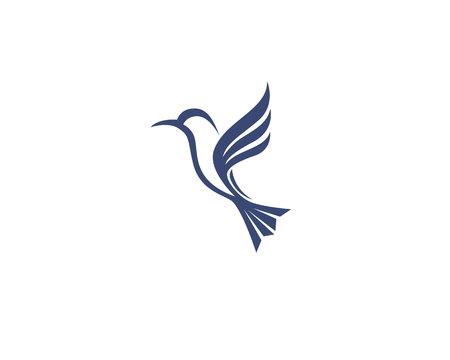 colibrí icono de logotipo y elementos ilustración vectorial