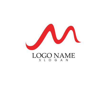 Letter M wave icon  template design vector illustration.
