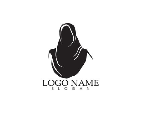 Hijab women black silhouette vector icon Illustration
