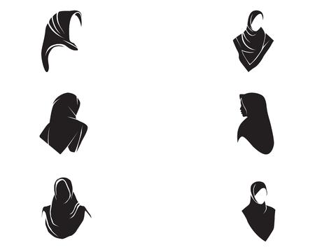 Hijab women black silhouette vector icon set 일러스트