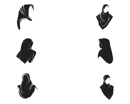 Hijab women black silhouette vector icon set Vettoriali