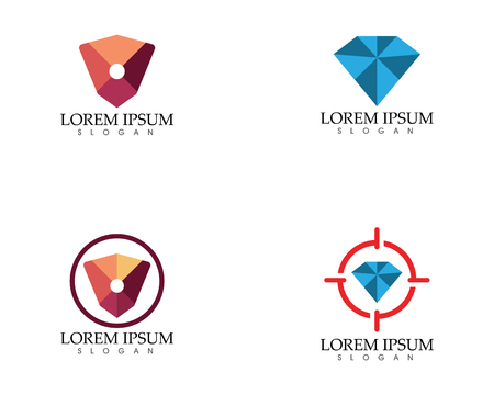 Diamond search insurance Template vector icons set