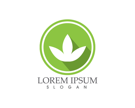 Lotus flower sign for wellness, spa and yoga in green circle. Illustration