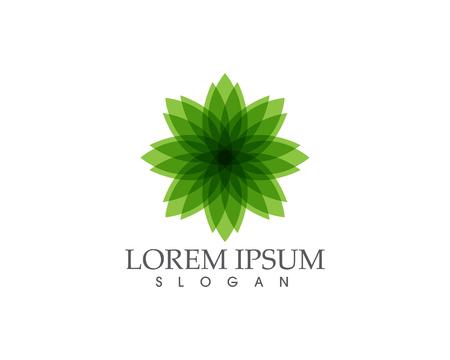 Green flower sign on white background vector illustration.