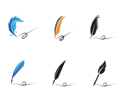 Feather pen write sign logo template app icons,