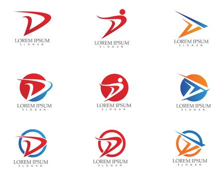 D Letter Faster Logo Template vector icon illustration design,