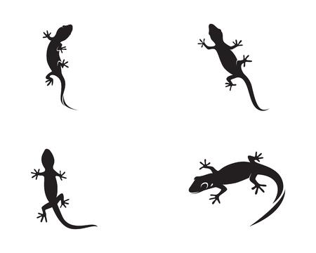 Lizard Chameleon Gecko Silhouette black vector Vettoriali
