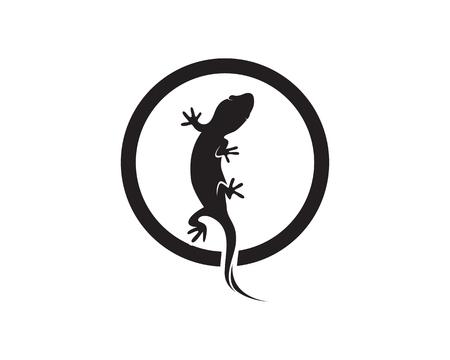 Lizard Chameleon Gecko Silhouette black vector.