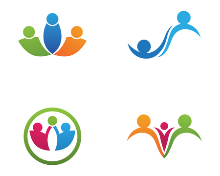Adoption and community care Logo template vector icon set on white background.