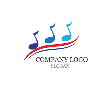 Music note symbols logo template design.