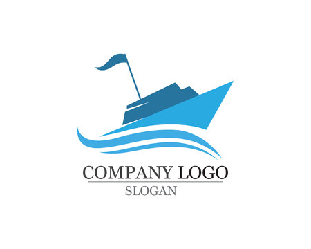Icono lineal simple de silueta de barco de crucero de océano.