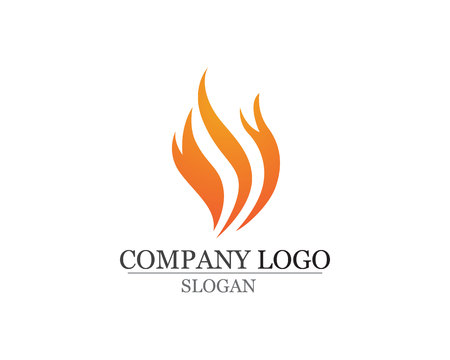 Fire flame template vector icon oil, gas and energy concept. Stock Illustratie
