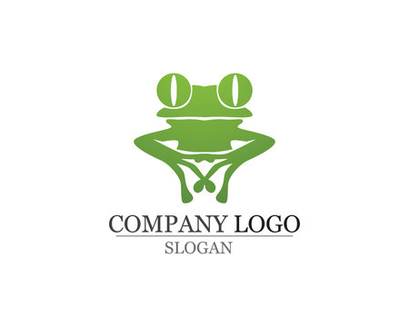 Green frog logo template