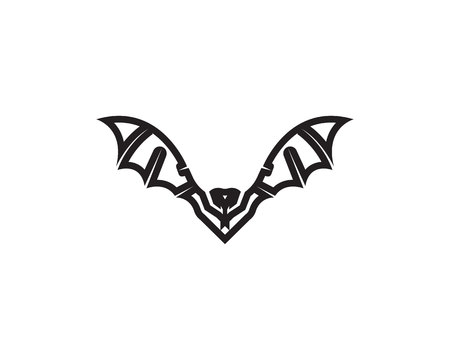 Bat black  logo template white background icons