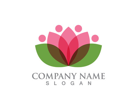 Lotus Flower Sign for Wellness, Spa and Yoga. Vector