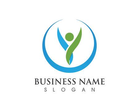 Plantilla de logotipo y símbolos de cuidado de personas de éxito de salud Logos