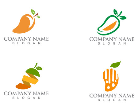 Mango logo icon fruit vector template