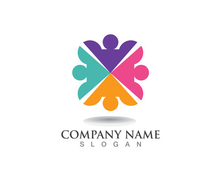 Adoption and community care Logo template vector Ilustração