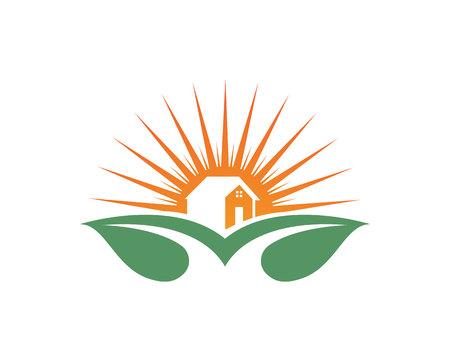 Home leaf green nature logo icons Illustration