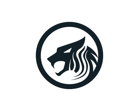 Tiger head logo mascot white background Иллюстрация