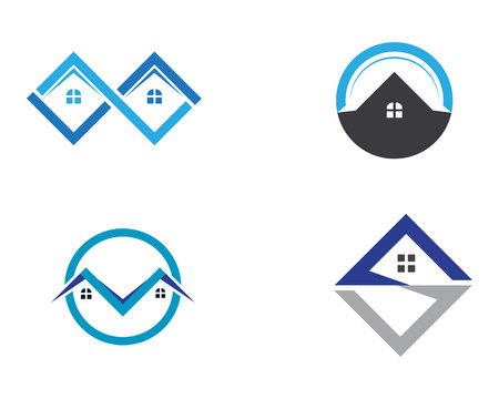 home buildings and symbols icons template  イラスト・ベクター素材