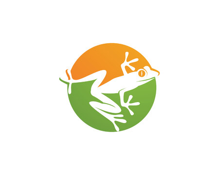 green frog logo and template 向量圖像