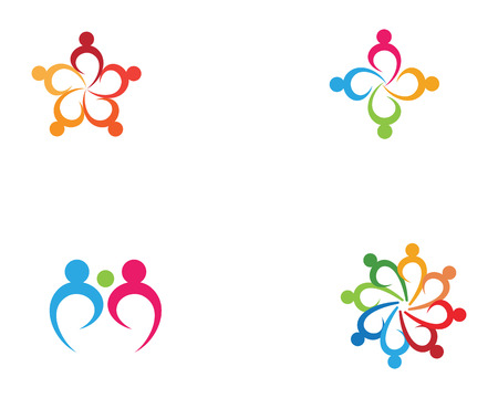 Star community group team work and adoption  logo and symbols