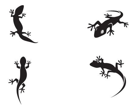 Lizard Chameleon Gecko Silhouette nera Vettoriali