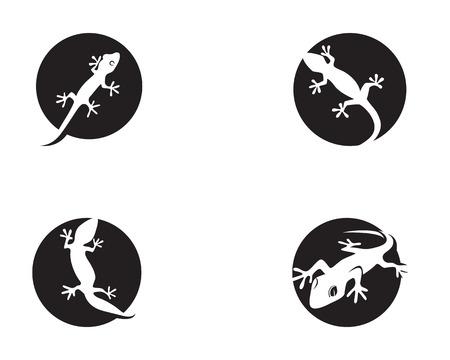 Lizard Chameleon Gecko Silhouette black Ilustrace