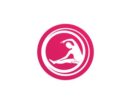Athletic yoga body logo and symbols vector icons Stock Illustratie