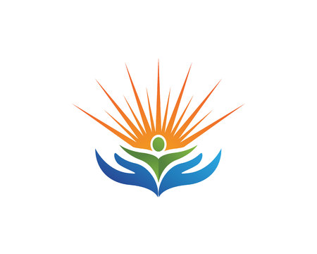 People care and sun nature therapy vector template logo Illustration