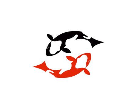Koi fish logo and symbols vector template 일러스트