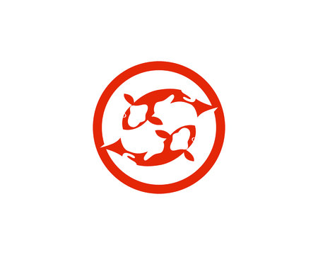 Modèle vectoriel de logo et symboles de poisson koi Logo