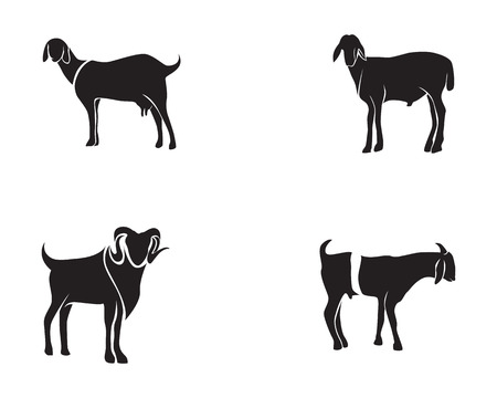 Goat black animals vector logo and symbol template