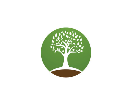 Tree green people identity card vector logo template Ilustrace