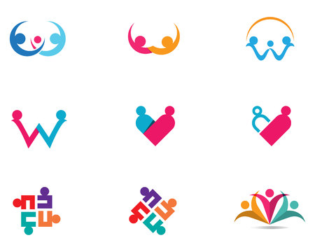 Adoption and community care Logo template vector icons