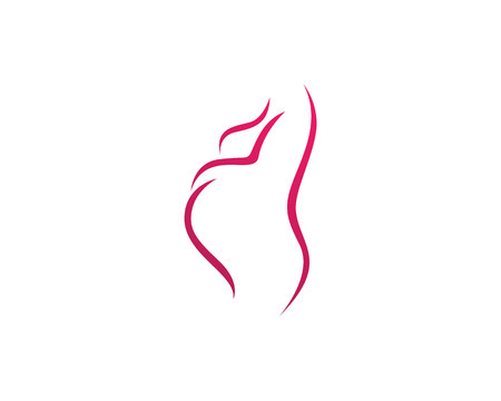 Happy pregnant woman touching her belly. Pregnancy Illustration