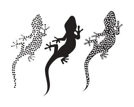 Lizard Chameleon Gecko Silhouette black vector 版權商用圖片 - 112000475