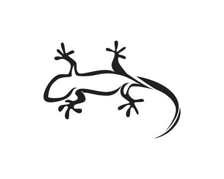 Lizard Chameleon Gecko Silhouette black vector Stock Illustratie