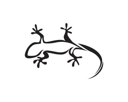 Vettore nero della siluetta del geco della camaleonte della lucertola