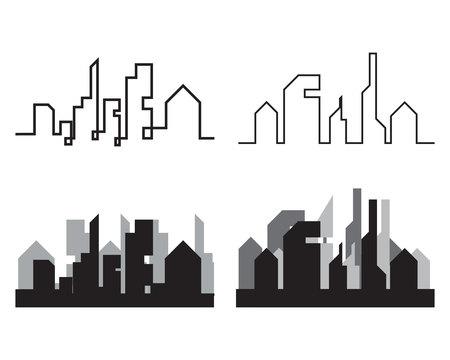 Illustration vectorielle de ville moderne skyline ville silhouette au design plat