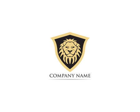 Lion head mascot logo and symbol