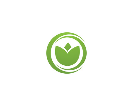 leaf green nature icon and symbol template Vector Illustration