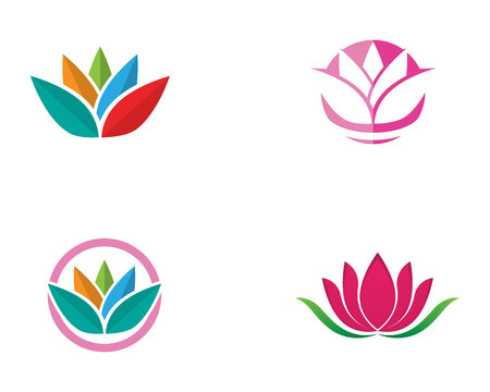 Beauty lotus icon flowers design illustration Template