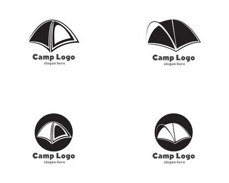 tent camp black logo 矢量图像